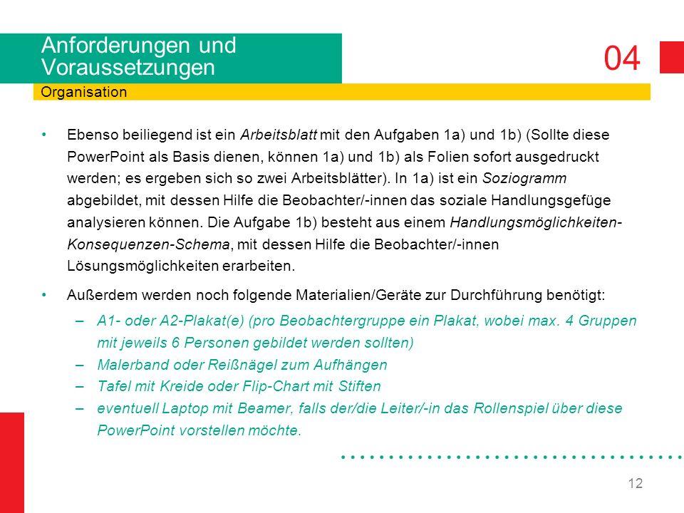 04 12 Anforderungen und Voraussetzungen Ebenso beiliegend ist ein Arbeitsblatt mit den Aufgaben 1a) und 1b) (Sollte diese PowerPoint als Basis dienen, können 1a) und 1b) als Folien sofort ausgedruckt werden; es ergeben sich so zwei Arbeitsblätter).