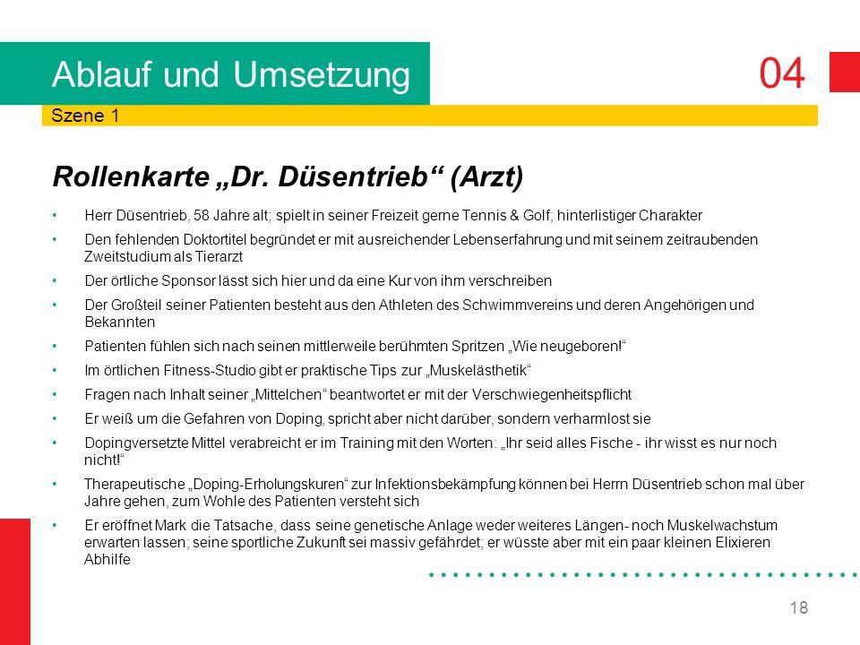04 18 Ablauf und Umsetzung Rollenkarte Dr. Düsentrieb (Arzt) Herr Düsentrieb, 58 Jahre alt; spielt in seiner Freizeit gerne Tennis & Golf; hinterlisti