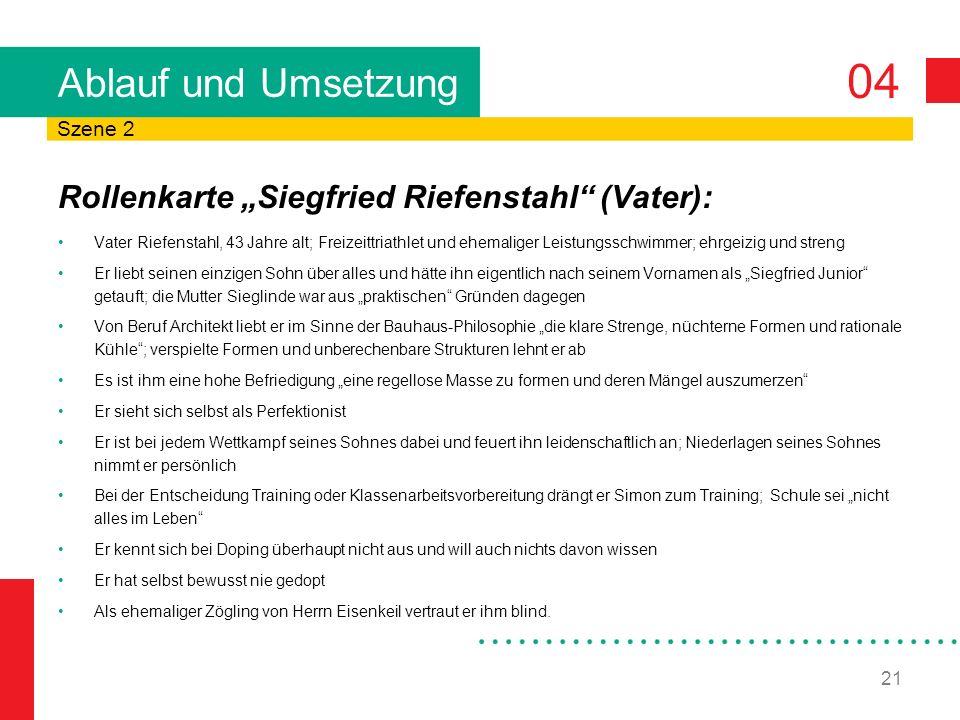 04 21 Ablauf und Umsetzung Rollenkarte Siegfried Riefenstahl (Vater): Vater Riefenstahl, 43 Jahre alt; Freizeittriathlet und ehemaliger Leistungsschwi