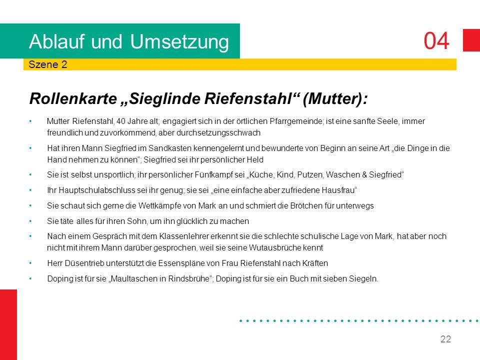 04 22 Ablauf und Umsetzung Rollenkarte Sieglinde Riefenstahl (Mutter): Mutter Riefenstahl, 40 Jahre alt; engagiert sich in der örtlichen Pfarrgemeinde