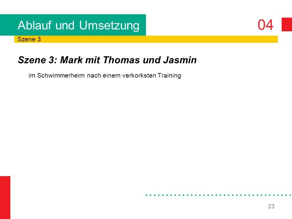 04 23 Ablauf und Umsetzung Szene 3: Mark mit Thomas und Jasmin im Schwimmerheim nach einem verkorksten Training Szene 3