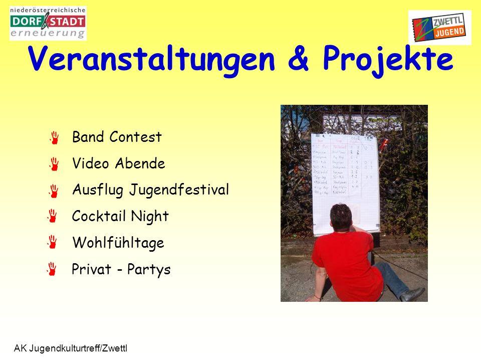 AK Jugendkulturtreff/Zwettl Veranstaltungen & Projekte Band Contest Video Abende Ausflug Jugendfestival Cocktail Night Wohlfühltage Privat - Partys