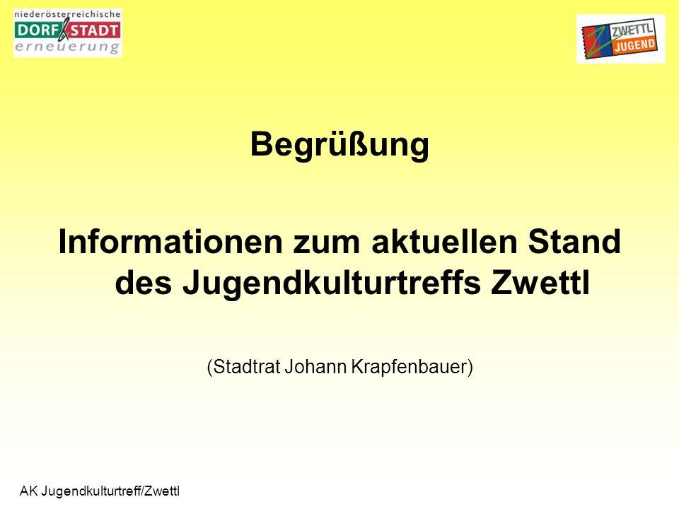 AK Jugendkulturtreff/Zwettl Begrüßung Informationen zum aktuellen Stand des Jugendkulturtreffs Zwettl (Stadtrat Johann Krapfenbauer)