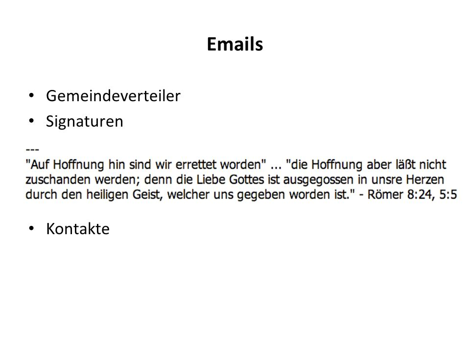 Emails Gemeindeverteiler Signaturen Kontakte