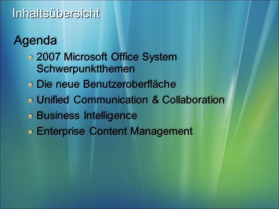 Inhaltsübersicht Agenda 2007 Microsoft Office System Schwerpunktthemen Die neue Benutzeroberfläche Unified Communication & Collaboration Business Inte