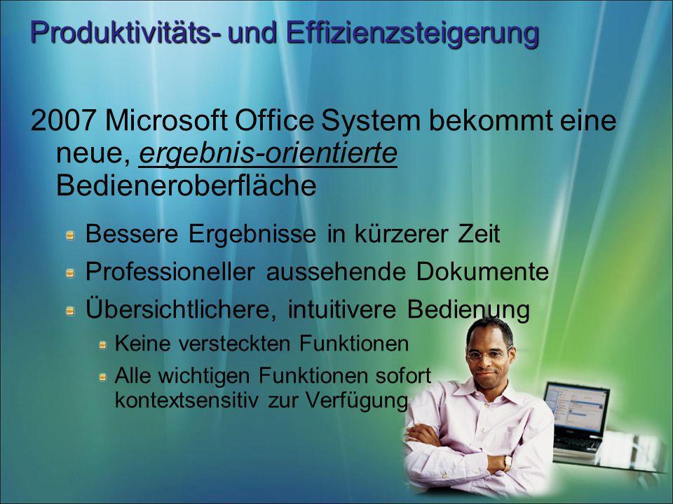 Produktivitäts- und Effizienzsteigerung 2007 Microsoft Office System bekommt eine neue, ergebnis-orientierte Bedieneroberfläche Bessere Ergebnisse in