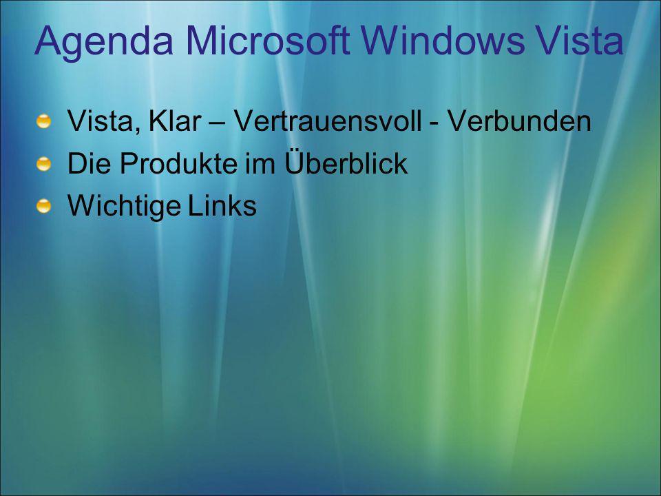 Agenda Microsoft Windows Vista Vista, Klar – Vertrauensvoll - Verbunden Die Produkte im Überblick Wichtige Links