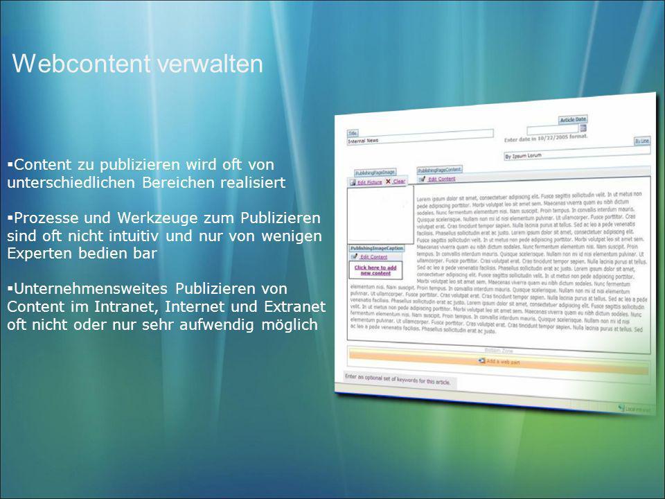 Webcontent verwalten Content zu publizieren wird oft von unterschiedlichen Bereichen realisiert Prozesse und Werkzeuge zum Publizieren sind oft nicht