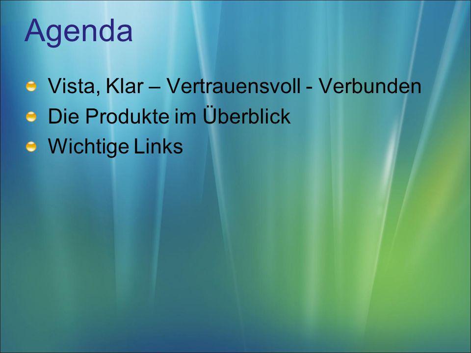 Agenda Vista, Klar – Vertrauensvoll - Verbunden Die Produkte im Überblick Wichtige Links