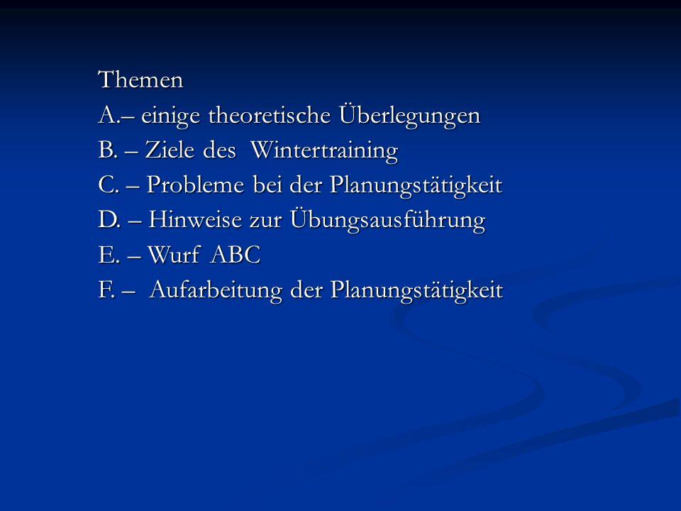 Themen A.– einige theoretische Überlegungen B. – Ziele des Wintertraining C. – Probleme bei der Planungstätigkeit D. – Hinweise zur Übungsausführung E