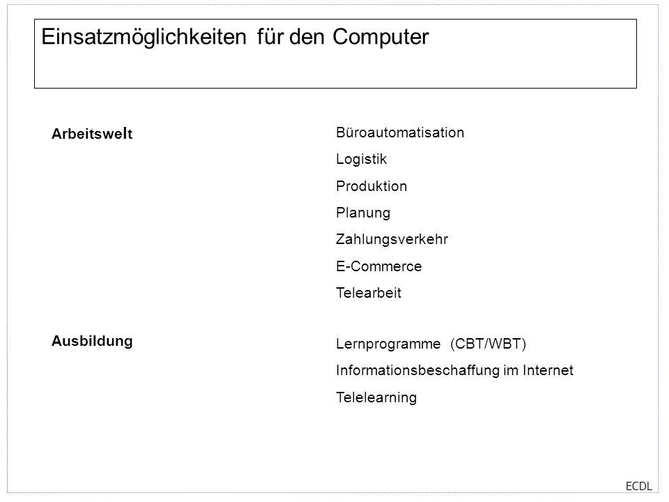 ECDL Einsatzmöglichkeiten für den Computer Arbeitswe l t Büroautomatisation Logistik Produktion Planung Zahlungsverkehr E-Commerce Telearbeit Ausbildu