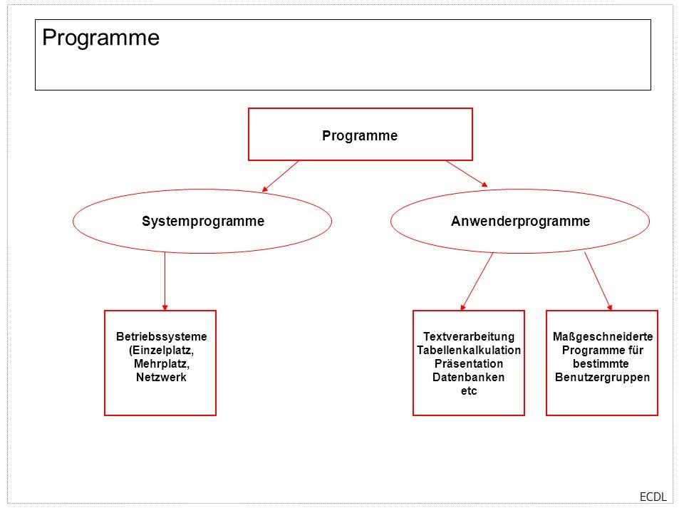 ECDL Programme Textverarbeitung Tabellenkalkulation Präsentation Datenbanken etc SystemprogrammeAnwenderprogramme Maßgeschneiderte Programme für besti
