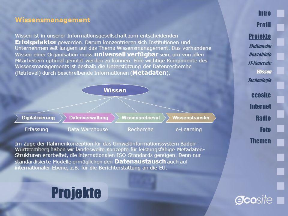 Projekte Wissensmanagement Wissen ist in unserer Informationsgesellschaft zum entscheidenden Erfolgsfaktor geworden.