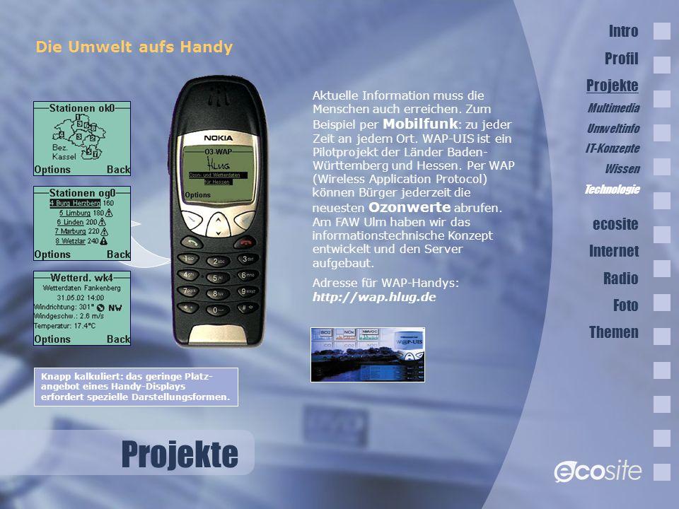 Projekte Die Umwelt aufs Handy Aktuelle Information muss die Menschen auch erreichen.