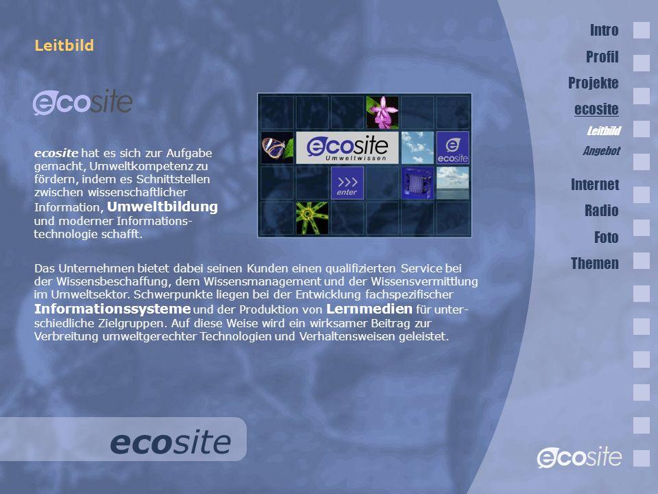 ecosite Leitbild Das Unternehmen bietet dabei seinen Kunden einen qualifizierten Service bei der Wissensbeschaffung, dem Wissensmanagement und der Wissensvermittlung im Umweltsektor.