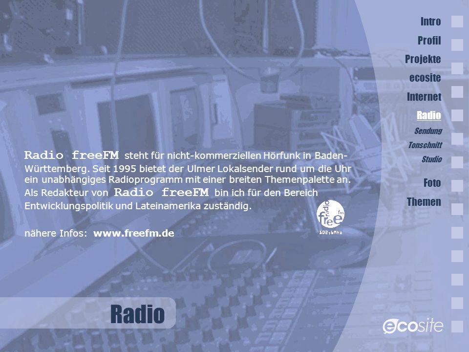 Radio Radio freeFM steht für nicht-kommerziellen Hörfunk in Baden- Württemberg.