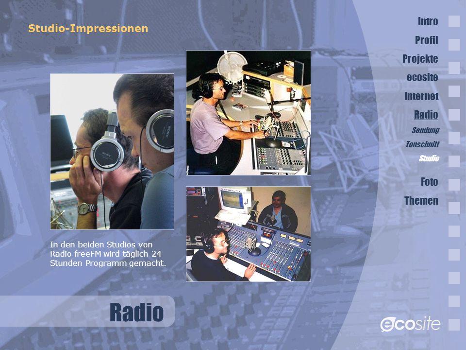 Radio Studio-Impressionen In den beiden Studios von Radio freeFM wird täglich 24 Stunden Programm gemacht.