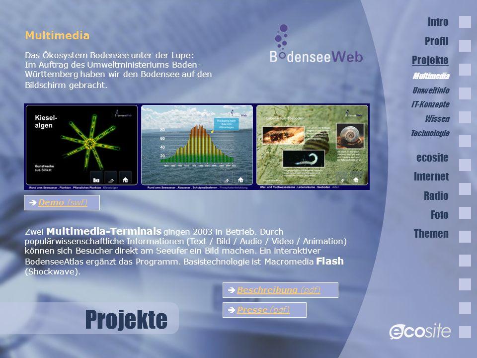 Projekte Multimedia Zwei Multimedia-Terminals gingen 2003 in Betrieb.