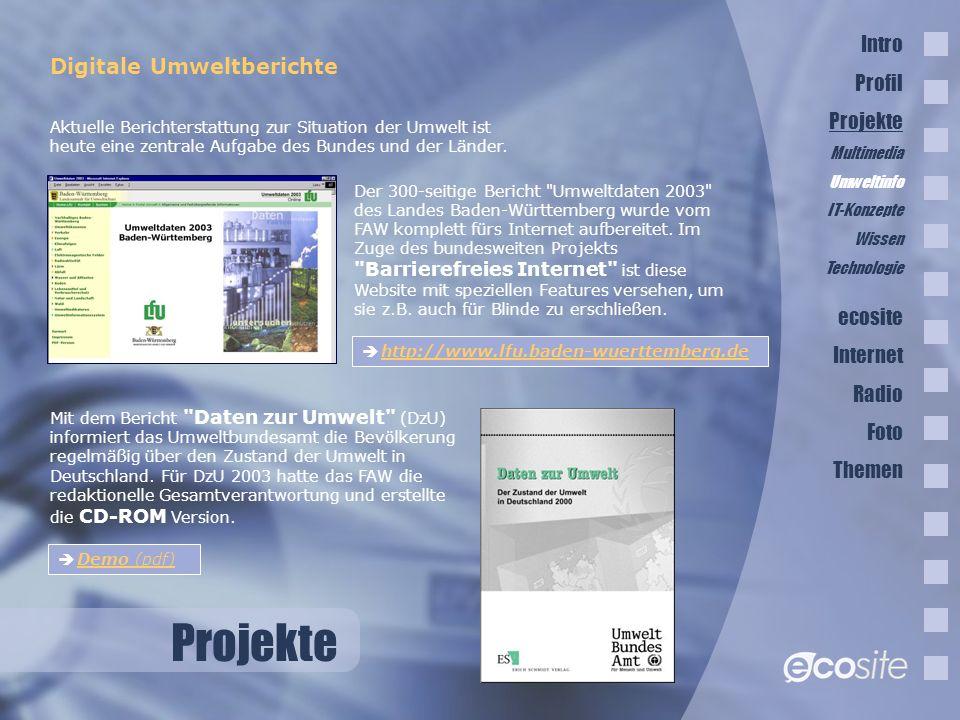 Projekte Digitale Umweltberichte Der 300-seitige Bericht Umweltdaten 2003 des Landes Baden-Württemberg wurde vom FAW komplett fürs Internet aufbereitet.