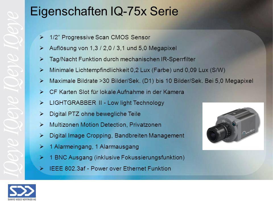 Eigenschaften IQ-75x Serie 1/2 Progressive Scan CMOS Sensor Auflösung von 1,3 / 2,0 / 3,1 und 5,0 Megapixel Tag/Nacht Funktion durch mechanischen IR-Sperrfilter Minimale Lichtempfindlichkeit 0,2 Lux (Farbe) und 0,09 Lux (S/W) Maximale Bildrate >30 Bilder/Sek.