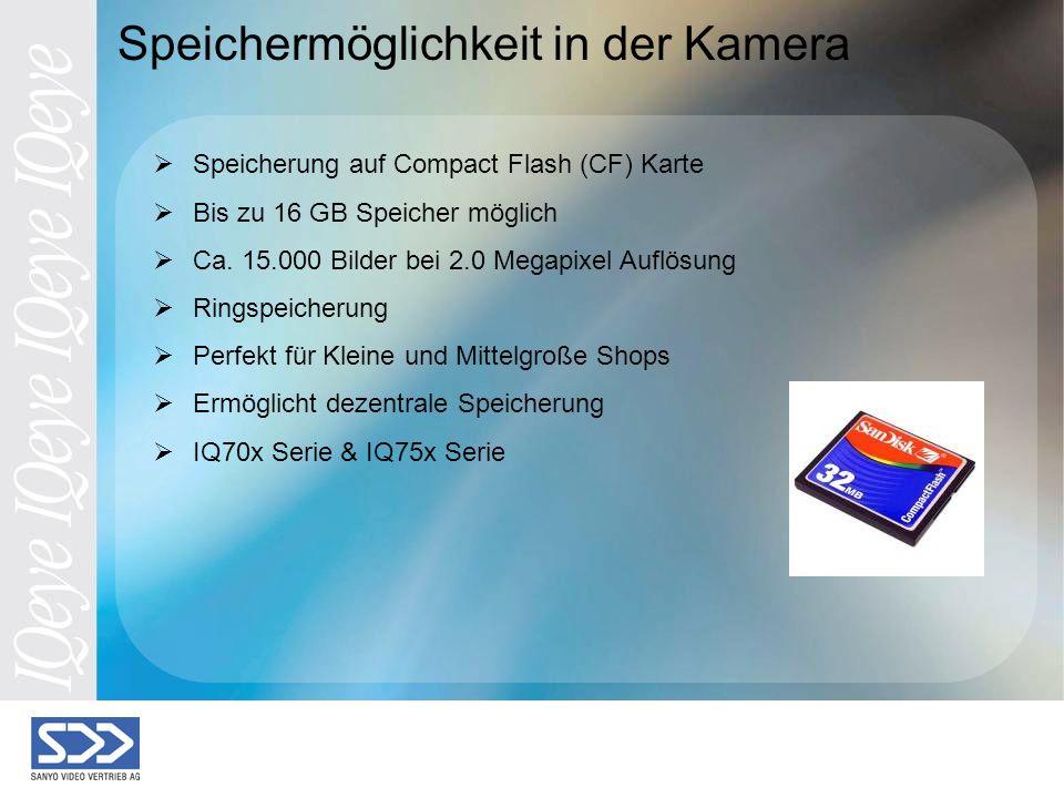 Speichermöglichkeit in der Kamera Speicherung auf Compact Flash (CF) Karte Bis zu 16 GB Speicher möglich Ca.