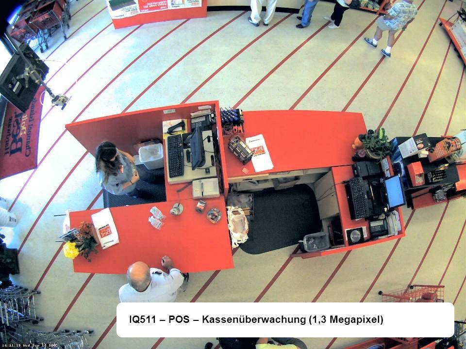 Eigenschaften IQ-511 1/3 Progessive Scan CMOS Sensor Maximale Auflösung 1,3 Megapixel (1280 x 1024) Minimale Lichtempfindlichkeit 0,2 Lux Maximale Bildrate 30 Bilder/Sek.