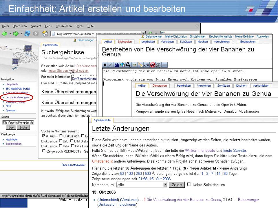 Wiki-Einsatz in Lehr-/Lernkontexten: Didaktische Szenarien für die kooperative Hypertextproduktion Storrer – Beißwenger – Heiner Einfachheit: Artikel