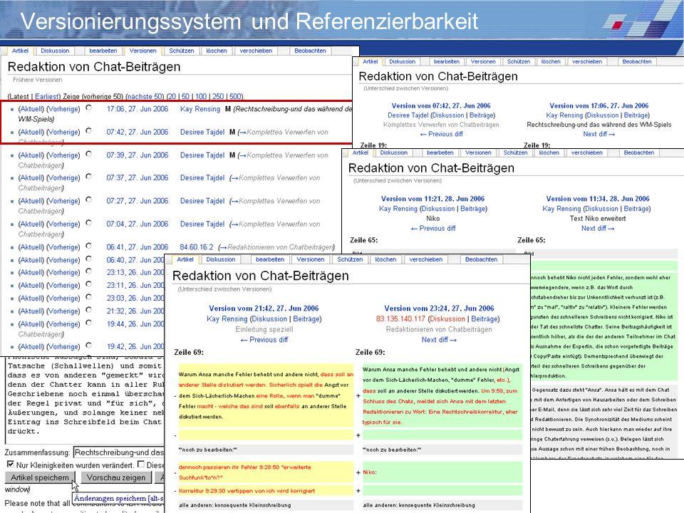 Wiki-Einsatz in Lehr-/Lernkontexten: Didaktische Szenarien für die kooperative Hypertextproduktion Storrer – Beißwenger – Heiner Versionierungssystem
