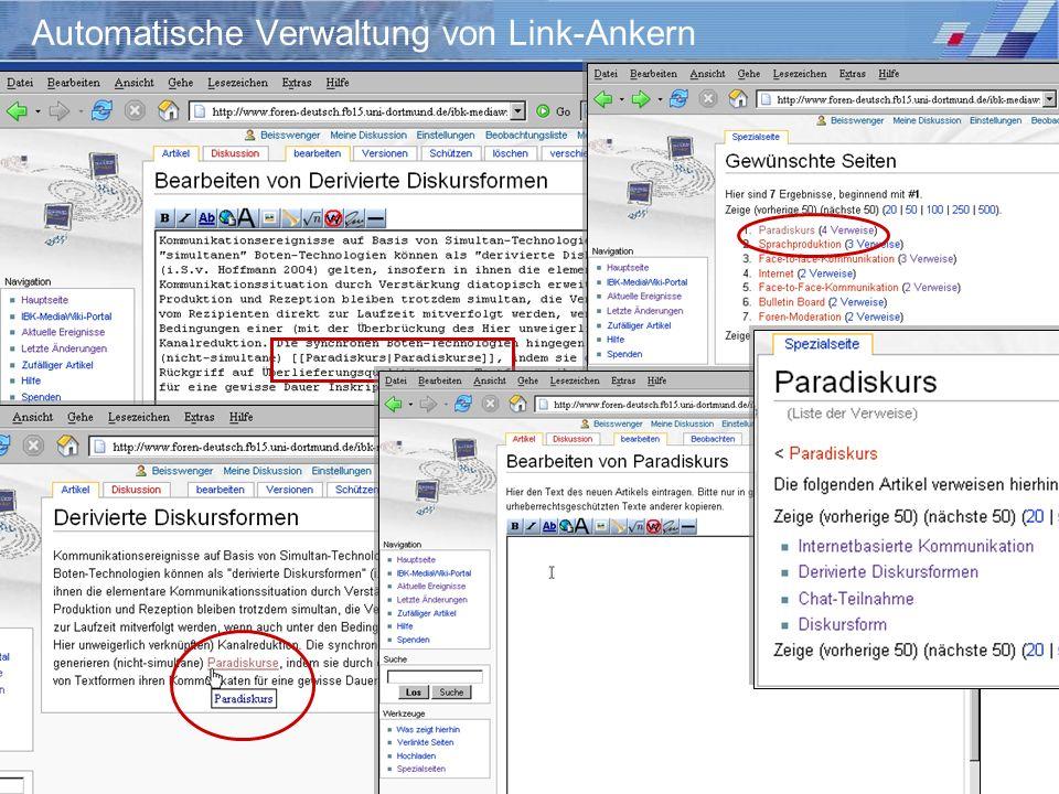 Wiki-Einsatz in Lehr-/Lernkontexten: Didaktische Szenarien für die kooperative Hypertextproduktion Storrer – Beißwenger – Heiner Syntax für Hyperlinks