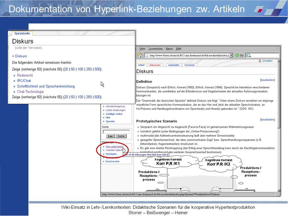 Wiki-Einsatz in Lehr-/Lernkontexten: Didaktische Szenarien für die kooperative Hypertextproduktion Storrer – Beißwenger – Heiner Dokumentation von Hyp