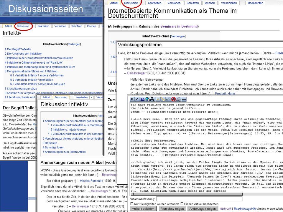 Wiki-Einsatz in Lehr-/Lernkontexten: Didaktische Szenarien für die kooperative Hypertextproduktion Storrer – Beißwenger – Heiner Diskussionsseiten