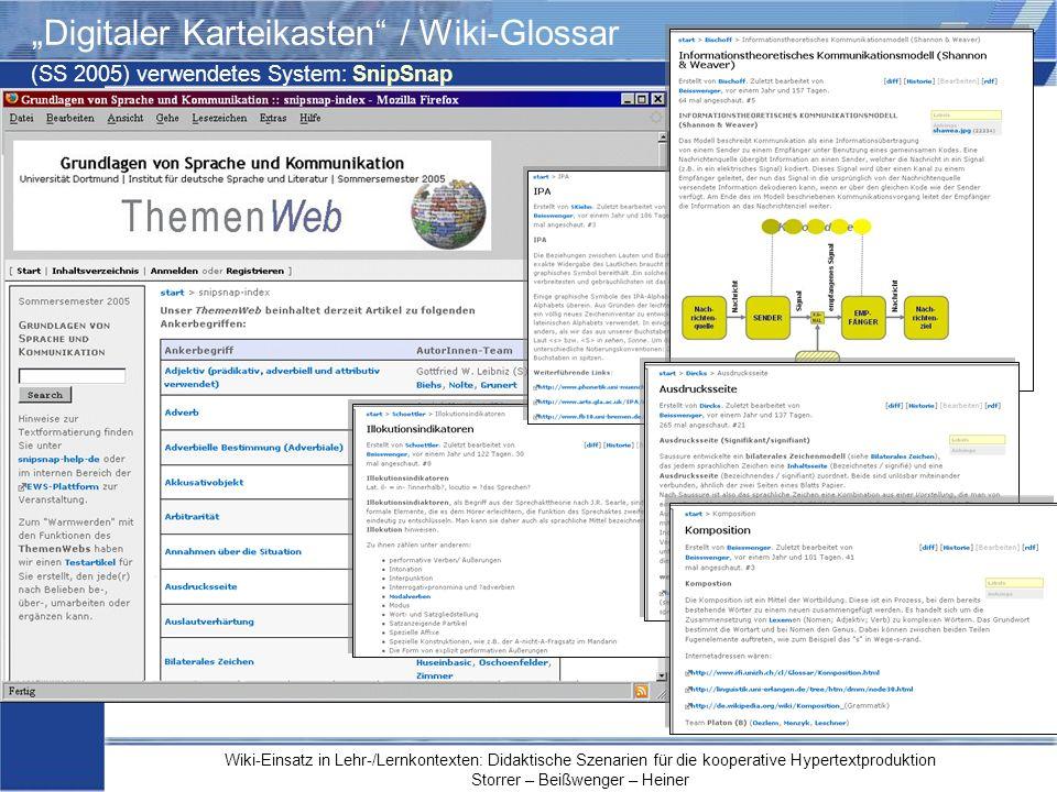 Wiki-Einsatz in Lehr-/Lernkontexten: Didaktische Szenarien für die kooperative Hypertextproduktion Storrer – Beißwenger – Heiner Digitaler Karteikaste