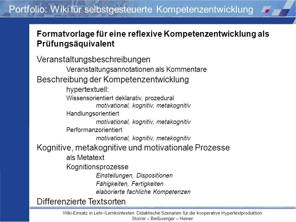 Wiki-Einsatz in Lehr-/Lernkontexten: Didaktische Szenarien für die kooperative Hypertextproduktion Storrer – Beißwenger – Heiner Portfolio: Wiki für s