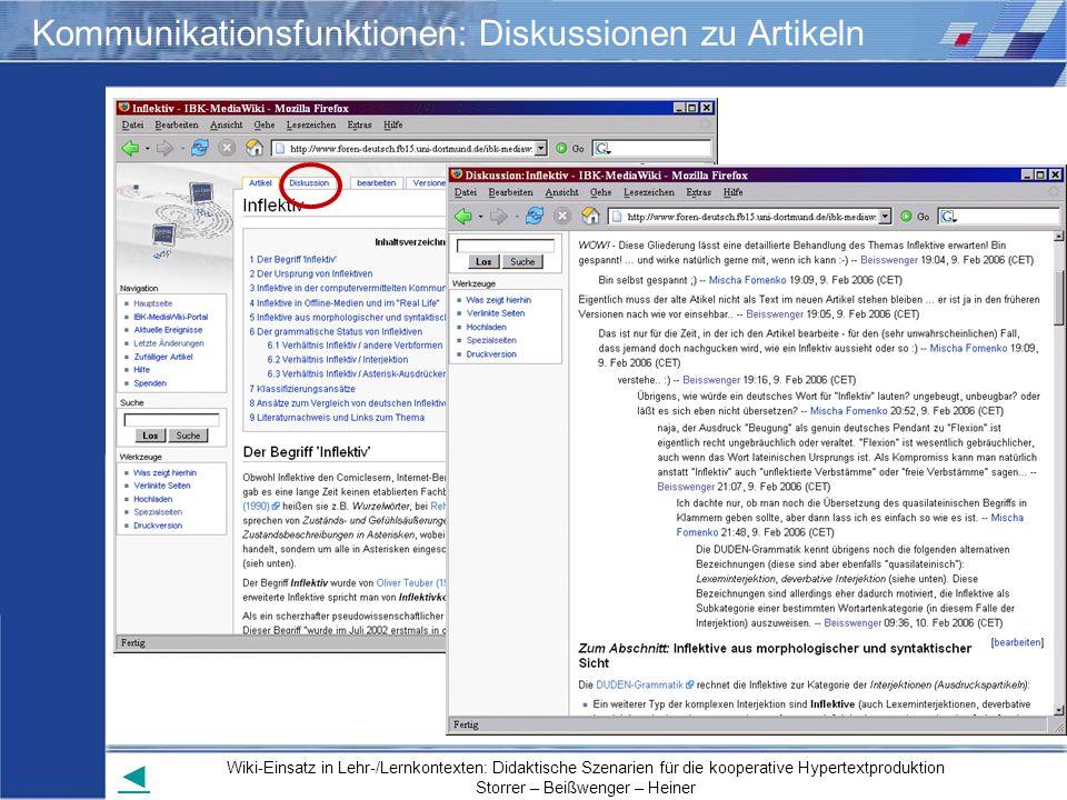 Wiki-Einsatz in Lehr-/Lernkontexten: Didaktische Szenarien für die kooperative Hypertextproduktion Storrer – Beißwenger – Heiner Kommunikationsfunktio