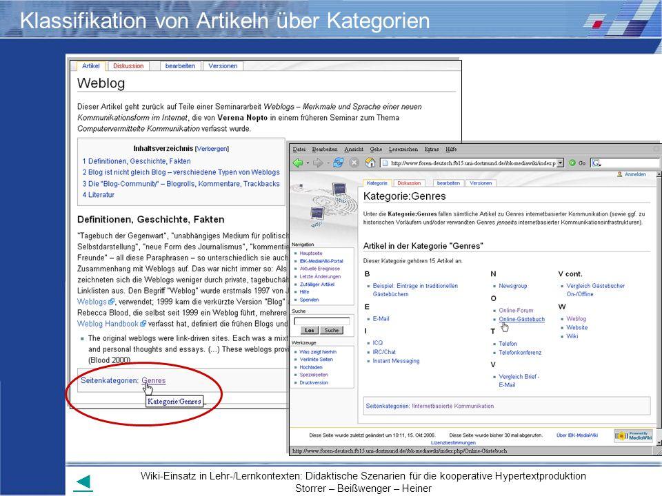 Wiki-Einsatz in Lehr-/Lernkontexten: Didaktische Szenarien für die kooperative Hypertextproduktion Storrer – Beißwenger – Heiner Klassifikation von Ar