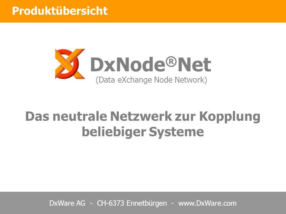 DxWare AG - CH-6373 Ennetbürgen - www.DxWare.com Produktübersicht DxNode ® Net (Data eXchange Node Network) Das neutrale Netzwerk zur Kopplung beliebi