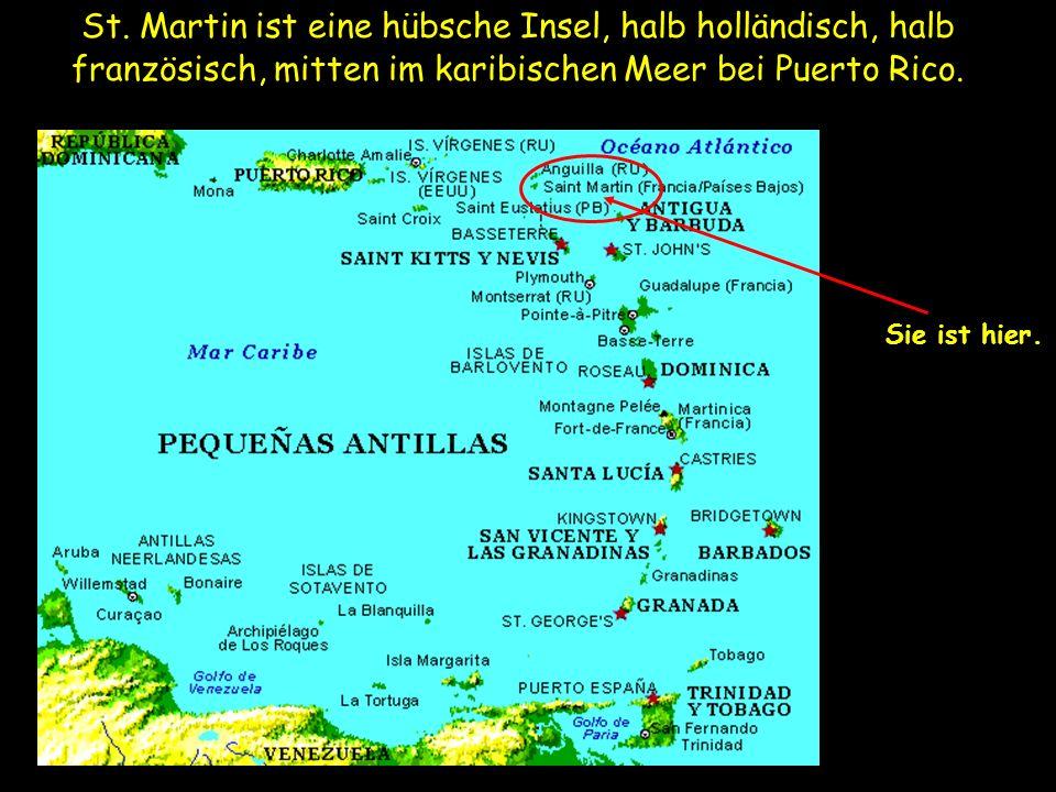 St. Martin ist eine hübsche Insel, halb holländisch, halb französisch, mitten im karibischen Meer bei Puerto Rico. Sie ist hier.