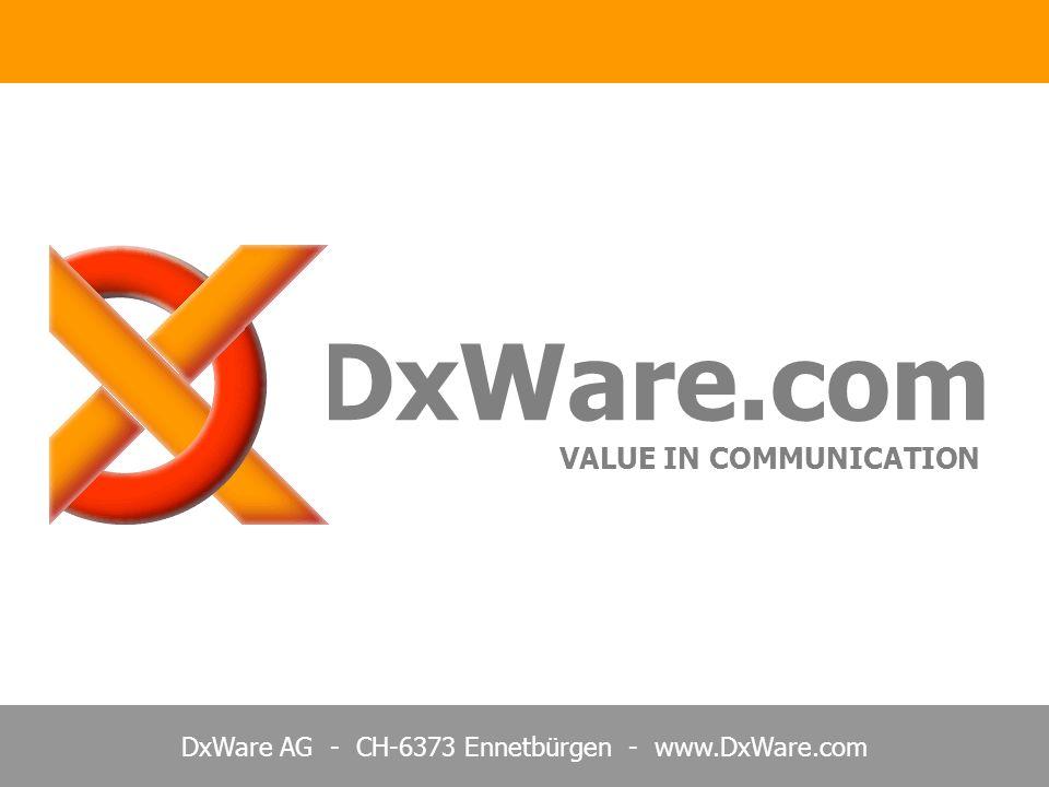 DxWare AG - CH-6373 Ennetbürgen - www.DxWare.com DxNode.Net und BACnet Ziel: Interoperabilität plus Sicherheit Standard Interface für Gebäude/Prozess Middleware Netzwerk mit Funktionen Protokoll für definierte Objekttypen Verteilte Real Time Datenbank Hierarchisches Client/Server Konzept Kommunikation via TCP/IP Sockets RS 232, RS 485, LonTalk, Ethernet Einfaches, offenes XML Protokoll Binär Protokoll mit Objekt Meldungen Einfache Anbindung ohne DLL Aufwändige Beschreibung für Anbinder Jederzeit validierbar mit XML Schema Compliance Test erforderlich Konfigurierbare Objekte mit Namen Vorgegebene Anzahl Objekttypen Store&Forward, Redundanz Nicht verfügbar, ist individuell zu lösen Zwei freie Adressräume a= .. , n= .. Unique ID Nr.