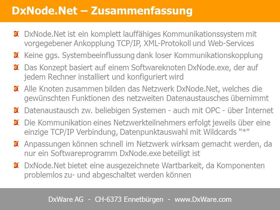 DxWare AG - CH-6373 Ennetbürgen - www.DxWare.com DxNode.Net – Zusammenfassung DxNode.Net ist ein komplett lauffähiges Kommunikationssystem mit vorgege