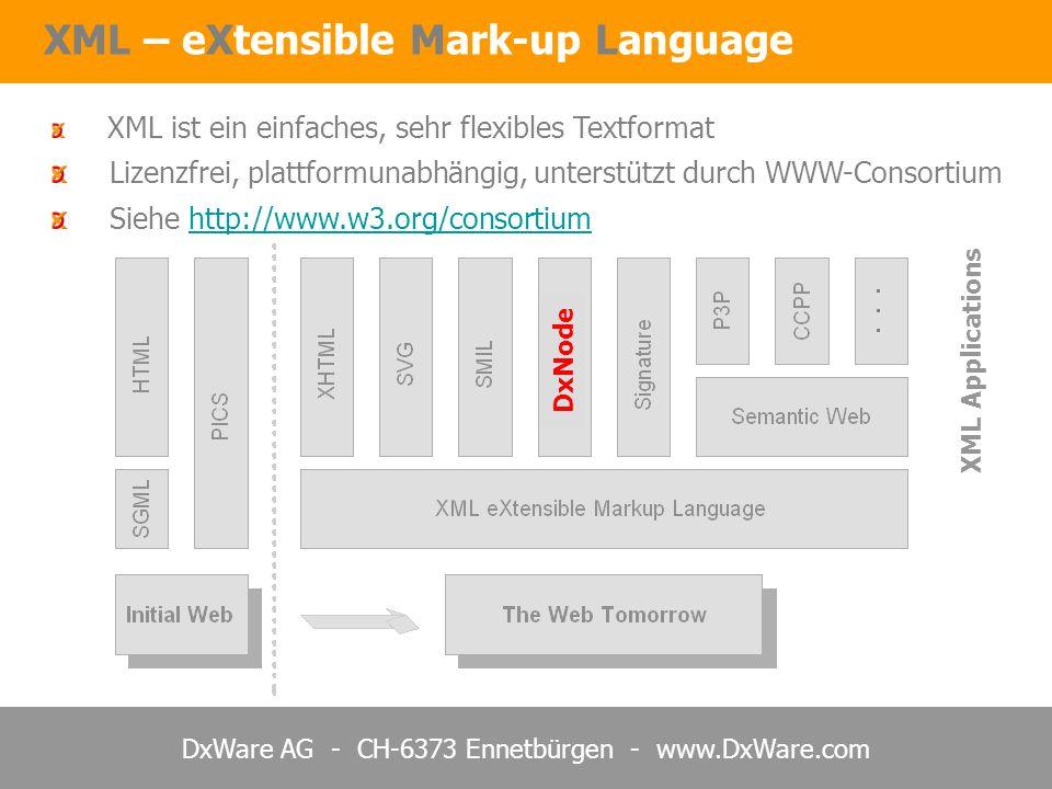 DxWare AG - CH-6373 Ennetbürgen - www.DxWare.com XML – eXtensible Mark-up Language XML ist ein einfaches, sehr flexibles Textformat Lizenzfrei, plattf
