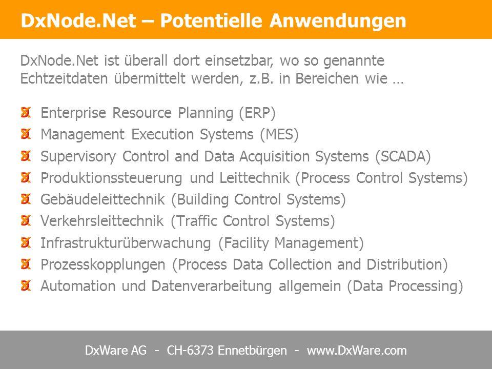 DxWare AG - CH-6373 Ennetbürgen - www.DxWare.com DxNode.Net – Hierarchie und Redundanz Redundante Systeme und Internet auf allen Stufen Hohe Verfügbarkeit der Daten