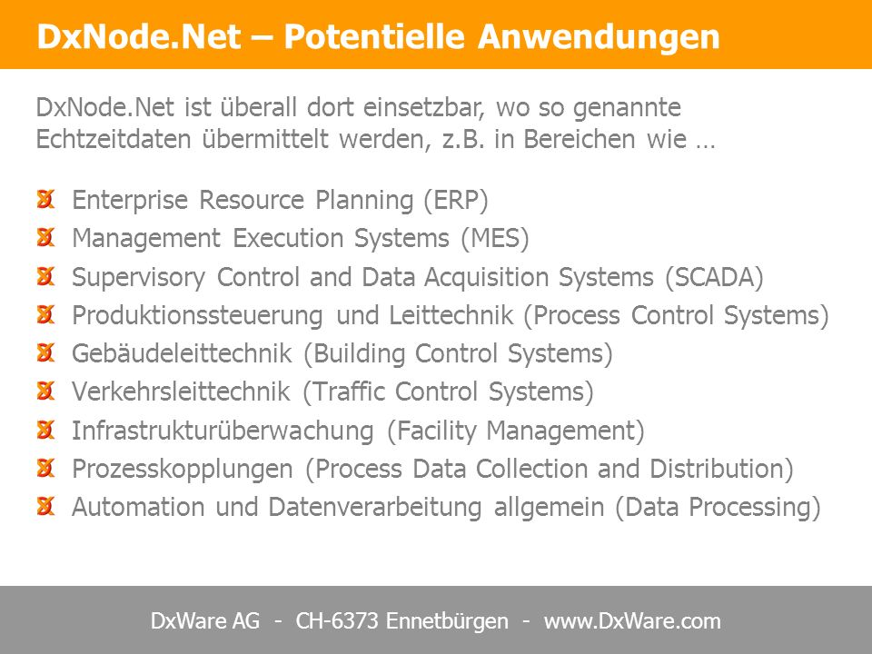 DxWare AG - CH-6373 Ennetbürgen - www.DxWare.com = Lokale Anbindung mit XML über TCP/IP oder OPC DxNode.Net – Komponenten Basiertes System Normalerweise Lieferung Anbieter/Integrator