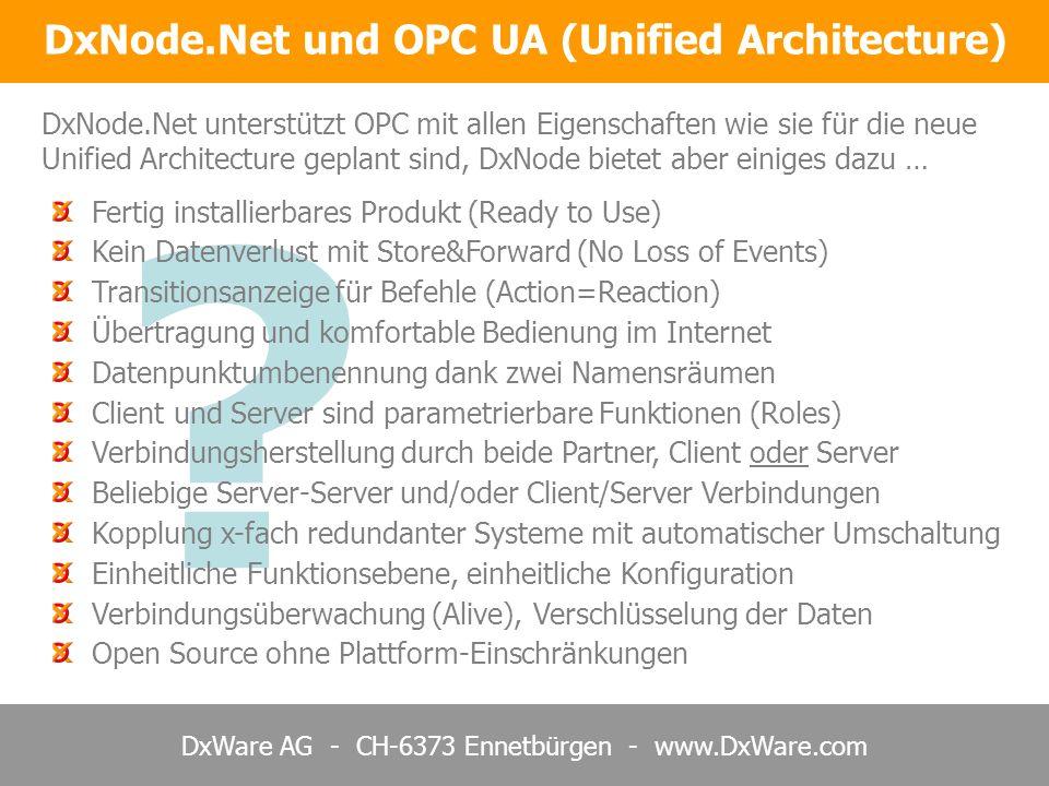 DxWare AG - CH-6373 Ennetbürgen - www.DxWare.com ? Fertig installierbares Produkt (Ready to Use) Kein Datenverlust mit Store&Forward (No Loss of Event