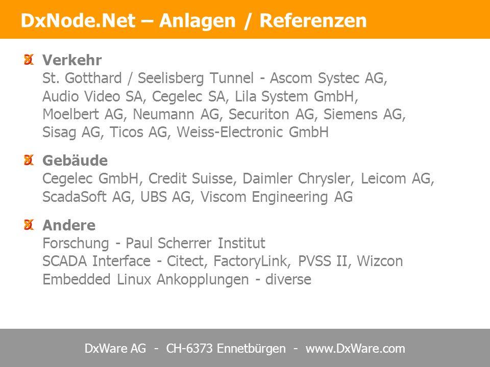 DxWare AG - CH-6373 Ennetbürgen - www.DxWare.com DxNode.Net – Zusammenfassung DxNode.Net ist ein komplett lauffähiges Kommunikationssystem mit vorgegebener Ankopplung TCP/IP, XML-Protokoll und Web-Services Keine ggs.