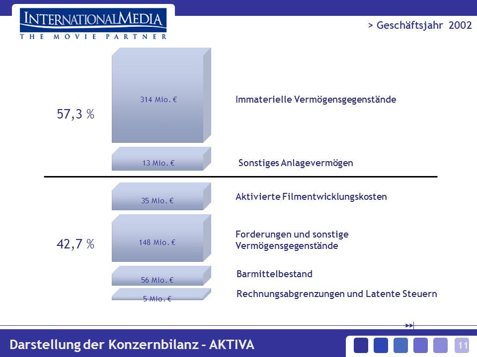 11 > Geschäftsjahr 2002 Darstellung der Konzernbilanz - AKTIVA 314 Mio. 13 Mio. 35 Mio. 148 Mio. 56 Mio. 5 Mio. 57,3 % 42,7 % Immaterielle Vermögensge