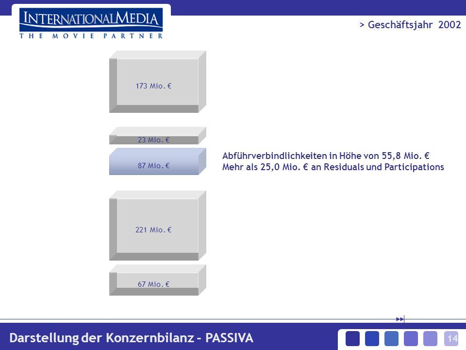 14 > Geschäftsjahr 2002 Darstellung der Konzernbilanz - PASSIVA Abführverbindlichkeiten in Höhe von 55,8 Mio. Mehr als 25,0 Mio. an Residuals und Part