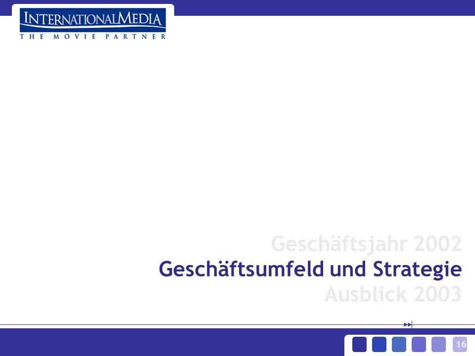 16 Geschäftsjahr 2002 Geschäftsumfeld und Strategie Ausblick 2003