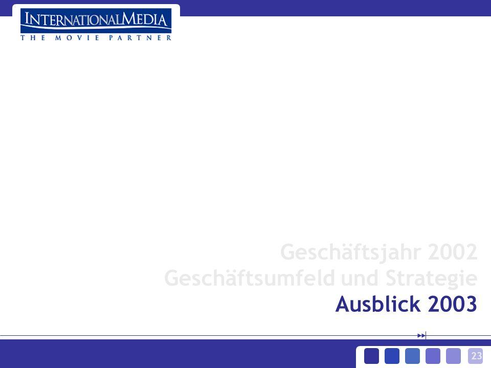 23 Geschäftsjahr 2002 Geschäftsumfeld und Strategie Ausblick 2003