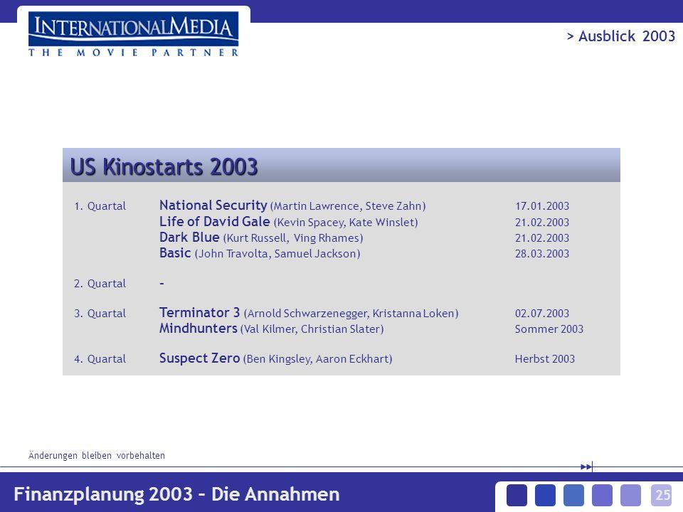 25 US Kinostarts 2003 1.