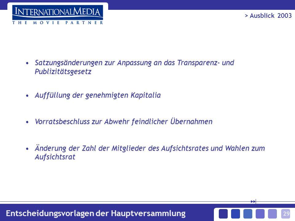 29 > Ausblick 2003 Entscheidungsvorlagen der Hauptversammlung Satzungsänderungen zur Anpassung an das Transparenz- und PublizitätsgesetzSatzungsänderu